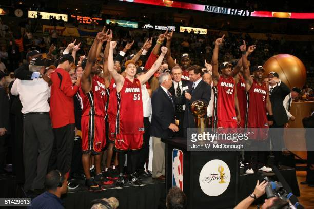 Basketball NBA Finals NBA commissioner David Stern presenting Larry O'Brien trophy to Miami Heat after winning game and championship vs Dallas...