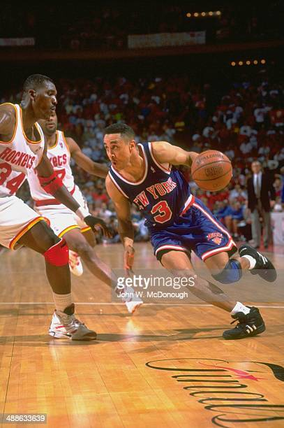 NBA Finals New York Knicks John Starks in action vs Houston Rockets Hakeem Olajuwon 34 at The Summit Game 7 Houston TX CREDIT John W McDonough
