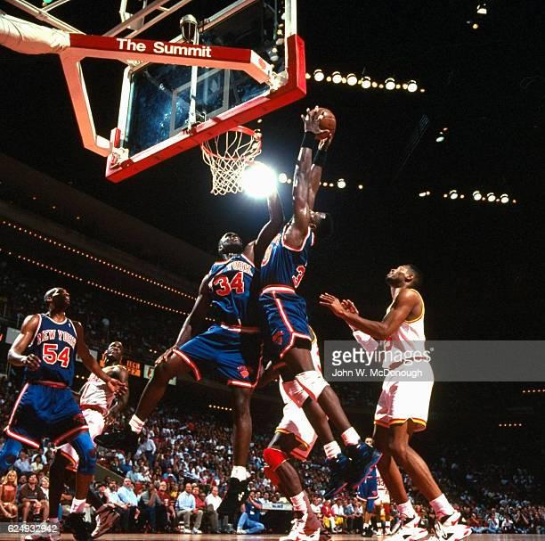 NBA Finals New York Knicks Patrick Ewing in action rebounding vs Houston Rockets at The Summit Game 2 Houston TX CREDIT John W McDonough