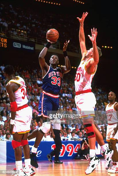 NBA Finals New York Knicks Patrick Ewing in action shooting vs Houston Rockets Matt Bullard at The Summit Game 2 Houston TX CREDIT John Biever