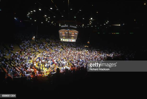 NBA Finals Overall view of fans on court after winnning Game 6 and campionship series vs Los Angeles Lakers at The Forum Inglewood CA CREDIT Richard...