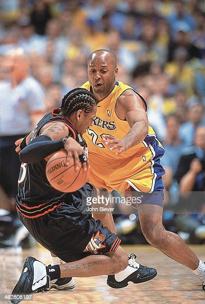 Finals: Philadelphia 76ers Allen Iverson in action vs Los Angeles Lakers Brian Shaw at Staples Center. Game 1. Los Angeles, CA 6/6/2001 CREDIT: John...