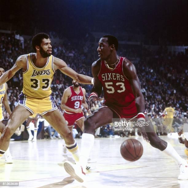 Basketball NBA Finals Philadelphia 76ers Darryl Dawkins in action vs Los Angeles Lakers Kareem AbdulJabbar Inglewood CA 5/11/1980