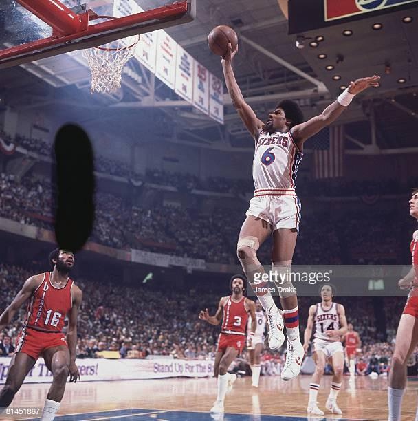 Basketball NBA Finals Philadelphia 76ers Julius Dr J Erving in action vs Portland Trail Blazers Game 2 Philadelphia PA 5/26/1977