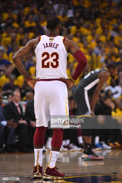 NBA Finals Rear view of Cleveland Cavaliers LeBron James during game vs Golden State Warriors at Oracle Arena Game 2 Oakland CA CREDIT John W...