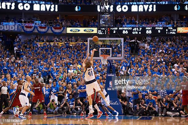 NBA Finals Rear view of Dallas Mavericks Dirk Nowitzki in action shot vs Miami Heat at American Airlines Center Game 3 Dallas TX CREDIT John W...