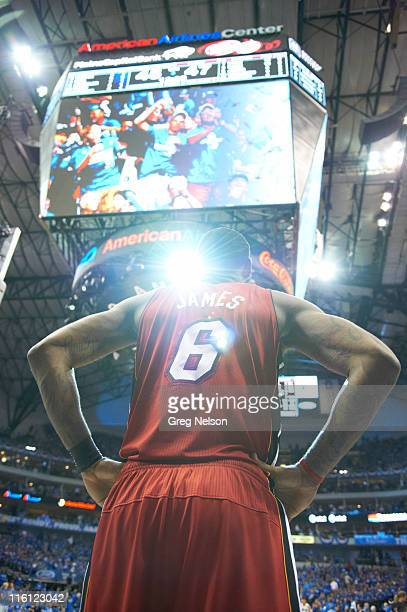 NBA Finals Rear view of Miami Heat LeBron James during game vs Dallas Mavericks at American Airlines Center Game 4 Dallas TX CREDIT Greg Nelson