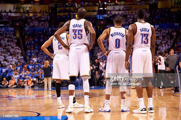 NBA Finals Rear view of Oklahoma City Thunder Kevin Durant Russell Westbrook and James Harden during game vs Miami Heat at Chesapeake Energy Arena...