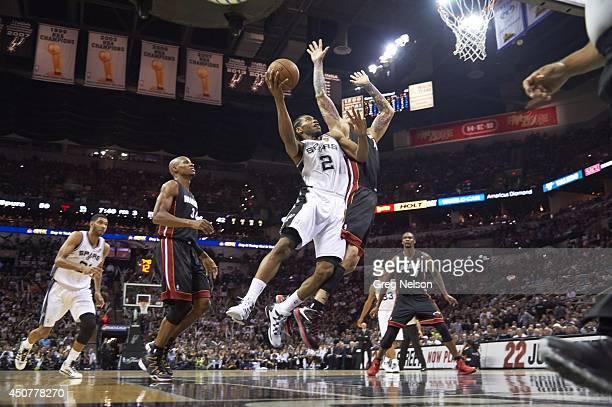 NBA Finals San Antonio Spurs Kawhi Leonard in action vs Miami Heat Dwyane Wade at ATT Center Game 5 San Antonio TX CREDIT Greg Nelson