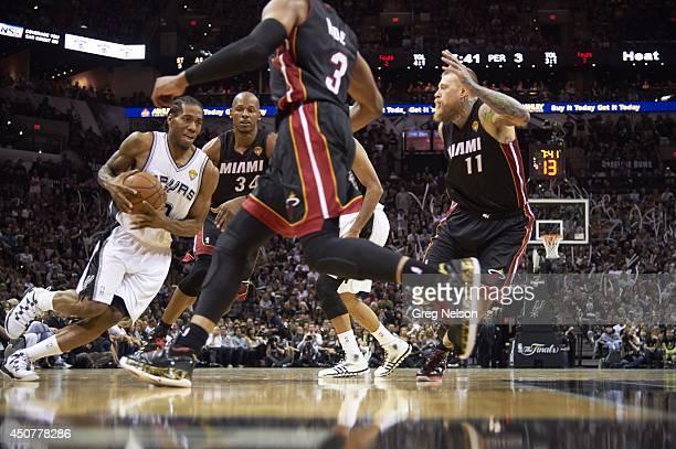 NBA Finals San Antonio Spurs Kawhi Leonard in action vs Miami Heat Ray Allen at ATT Center Game 5 San Antonio TX CREDIT Greg Nelson