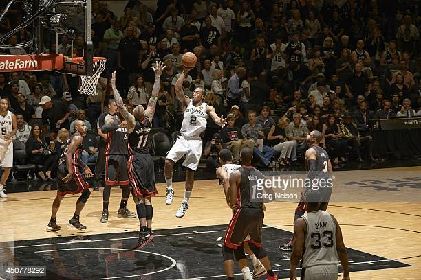 NBA Finals San Antonio Spurs Kawhi Leonard in action vs Miami Heat Chris Andersen at ATT Center Game 5 San Antonio TX CREDIT Greg Nelson
