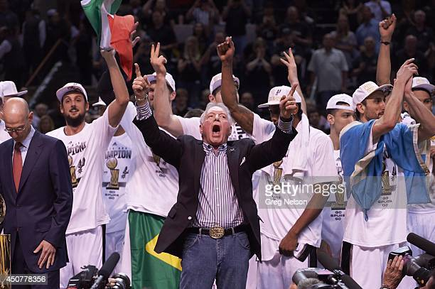 NBA Finals San Antonio Spurs owner Peter Holt victorious after winning game and series vs Miami Heat at ATT Center Game 5 San Antonio TX CREDIT Greg...