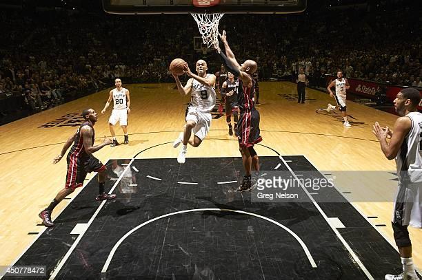 NBA Finals San Antonio Spurs Tony Parker in action vs Miami Heat Ray Allen at ATT Center Game 5 San Antonio TX CREDIT Greg Nelson