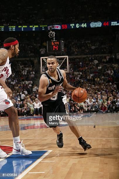 cbb079d9b Basketball NBA Finals San Antonio Spurs Tony Parker in action vs Detroit  Pistons Rasheed Wallace Auburn