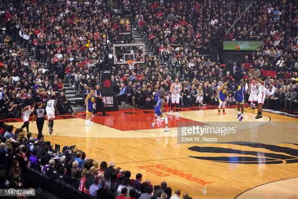 Finals: Toronto Raptors Kawhi Leonard in action, shooting vs Golden State Warriors Jordan Bell at Scotia Bank Arena. Game 1. Toronto, Canada...