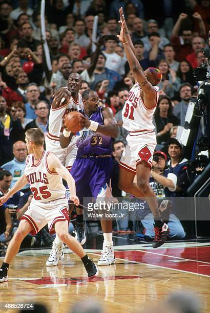 NBA Finals Utah Jazz Karl Malone in action vs Chicago Bulls Michael Jordan and Dennis Rodman at United Center Game 6 Chicago IL CREDIT Walter Iooss Jr