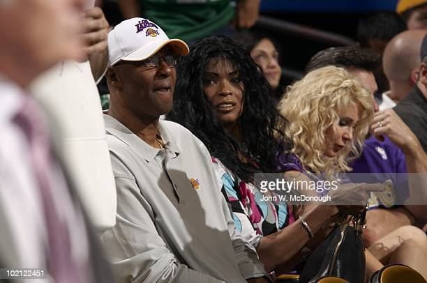 NBA Finals View of parents of Los Angeles Lakers Kobe Bryant during Game 4 vs Boston Celtics Mother Pam Bryant and father Joe Bryant Boston MA...