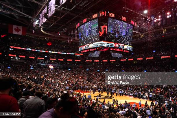 Finals: View of Scotia Bank Arena after Toronto Raptors vs Golden State Warriors game. Game 1. Raptors win as confetti comes down. Toronto, Canada...