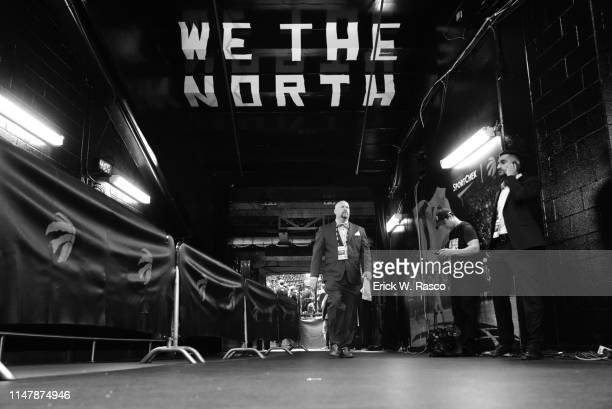 Finals: View of Scotia Bank Arena hallway that reads WE THE NORTH before Toronto Raptors vs Golden State Warriors game. Game 1. Toronto, Canada...