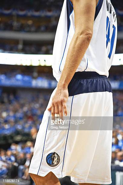 NBA Finals View of splint on middle finger of Dallas Mavericks Dirk Nowitzki during Game 3 vs Miami Heat at American Airlines Center Nowitzki...