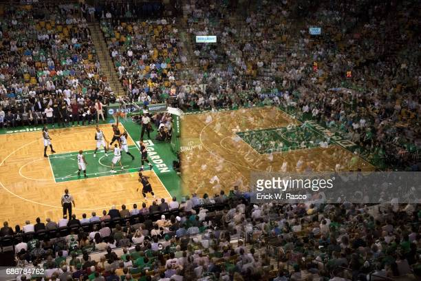 NBA Playoffs Aerial view of Cleveland Cavaliers Tristan Thompson in action vs Boston Celtics Amir Johnson at TD Garden Game 1 Boston MA CREDIT Erick...