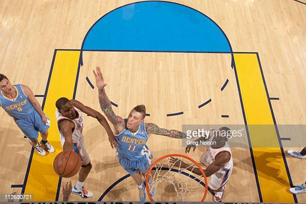 NBA Playoffs Aerial view of Denver Nuggets Chris Andersen in action defense vs Oklahoma City Thunder Kevin Durant at Oklahoma City Arena Game 1...