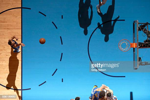 NBA Playoffs Aerial view of Golden State Warriors Stephen Curry during free throw vs Oklahoma City Thunder at Chesapeake Energy Arena Game 6 Oklahoma...