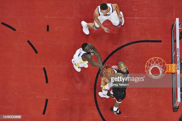 NBA Playoffs Aerial view of Houston Rockets PJ Tucker in action rebound vs Golden State Warriors at Toyota Center Game 7 Houston TX CREDIT Greg Nelson