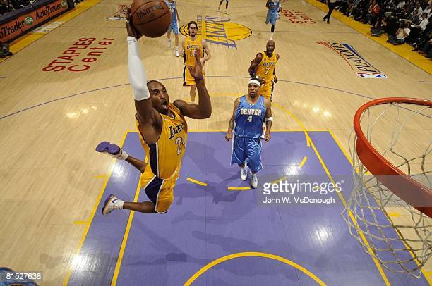 Basketball NBA Playoffs Aerial view of Los Angeles Lakers Kobe Bryant in action making dunk vs Denver Nuggets Game 2 of NBA Western Conference...
