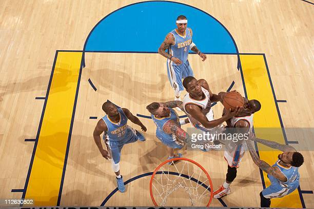 NBA Playoffs Aerial view of Oklahoma City Thunder Kevin Durant in action vs Denver Nuggets at Oklahoma City Arena Game 1 Oklahoma City OK...