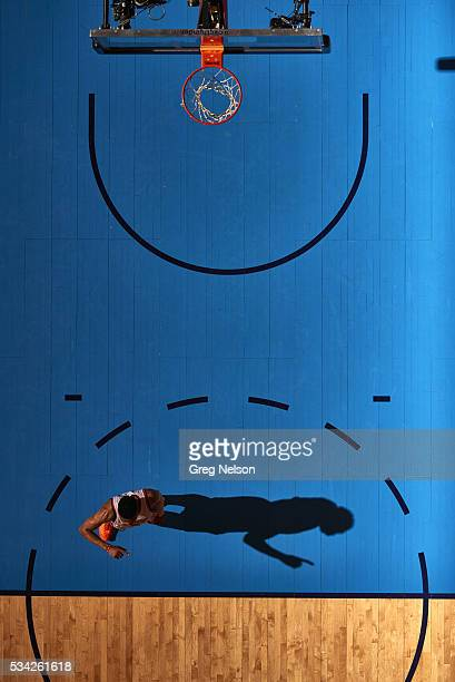 NBA Playoffs Aerial view of Oklahoma City Thunder Russell Westbrook on court during game vs Golden State Warriors at Chesapeake Energy Arena Game 3...