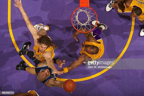 NBA Playoffs Aerial view of Utah Jazz Carlos Boozer in action vs Los Angeles Lakers Pau Gasol and Kobe Bryant Game 2 Los Angeles CA 4/21/2009 CREDIT...