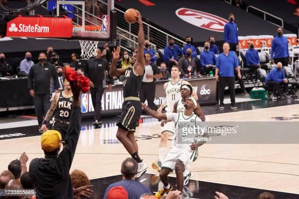 Playoffs: Atlanta Hawks Clint Capela in action vs Milwaukee Bucks at State Farm Arena. Game 6. Atlanta, GA 7/3/2021 CREDIT: Greg Nelson