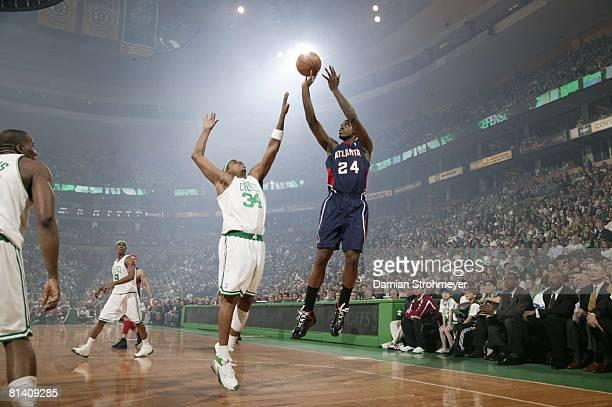 Basketball NBA Playoffs Atlanta Hawks Marvin Williams in action taking shot vs Boston Celtics Paul Pierce Game 1 Boston MA 4/20/2008