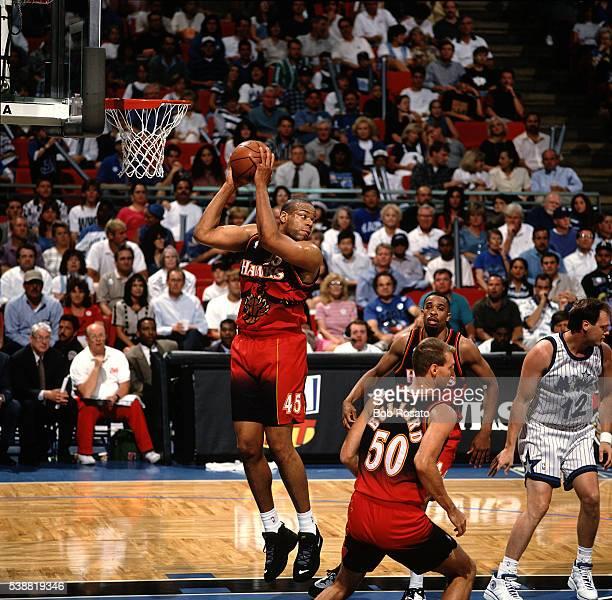 NBA Playoffs Atlanta Hawks Sean Rooks in action rebounding vs Orlando Magic at Amway Arena Game 2 Orlando FL CREDIT Bob Rosato