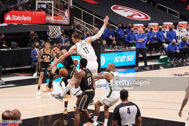 Playoffs: Atlanta Hawks Trae Young in action, passing vs Milwaukee Bucks at State Farm Arena. Game 6. Atlanta, GA 7/3/2021 CREDIT: Greg Nelson