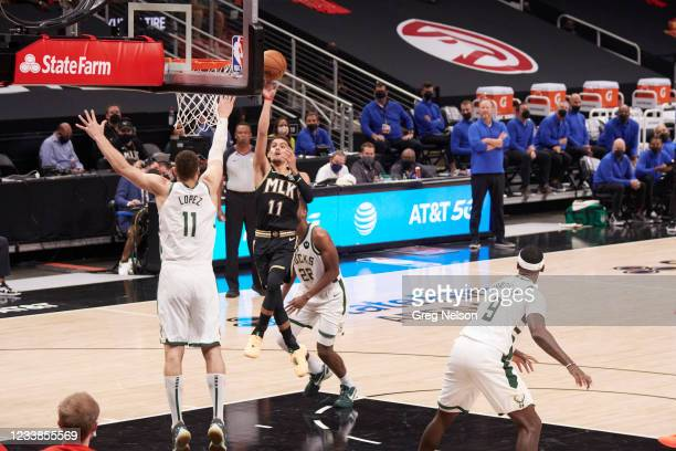 Playoffs: Atlanta Hawks Trae Young in action vs Milwaukee Bucks at State Farm Arena. Game 6. Atlanta, GA 7/3/2021 CREDIT: Greg Nelson