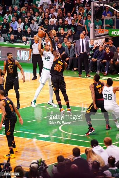 NBA Playoffs Boston Celtics Al Horford in action shooting vs Cleveland Cavaliers Jeff Green at TD Garden Game 7 Boston MA CREDIT Erick W Rasco