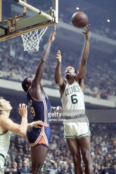 Basketball NBA Playoffs Boston Celtics Bill Russell in action taking shot vs New York Knicks Willis Reed Game 6 Boston MA 4/18/1969