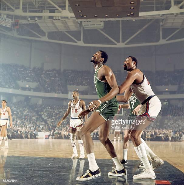 Basketball NBA Playoffs Boston Celtics Bill Russell in action vs Philadelphia 76ers Wilt Chamberlain Game 1 Philadelphia PA 4/5/1968