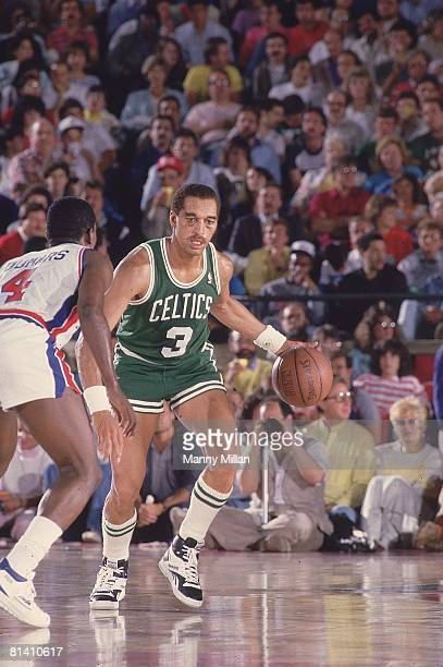 Basketball NBA Playoffs Boston Celtics Dennis Johnson in action vs Detroit Pistons Joe Dumars Pontiac MI 5/23/19875/28/1987