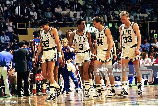 NBA Playoffs Boston Celtics Kevin McHale Dennis Johnson lDanny Ainge and Larry Bird during game vs Detroit Pistons at Boston Garden Boston MA CREDIT...