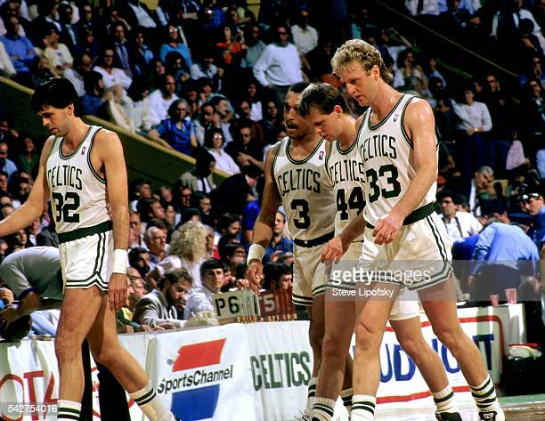 NBA Playoffs Boston Celtics Kevin McHale Dennis Johnson Danny Ainge and Larry Bird during game vs Detroit Pistons at Boston Garden Boston MA CREDIT...