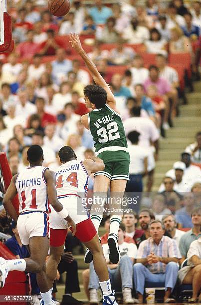 NBA Playoffs Boston Celtics Kevin McHale in action shooting vs Detroit Pistons Rick Mahorn at Pontiac Silverdome Game 3 Pontiac MI CREDIT John W...