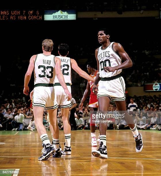 NBA Playoffs Boston Celtics Larry Bird Kevin McHale and Robert Parish during game vs Atlanta Hawks at Boston Garden Game 2 Boston MA CREDIT Steve...