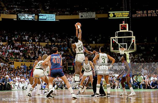 NBA Playoffs Boston Celtics Robert Parish in action tipoff vs Detroit Pistons Rick Mahorn at Boston Garden Boston MA CREDIT Steve Lipofsky