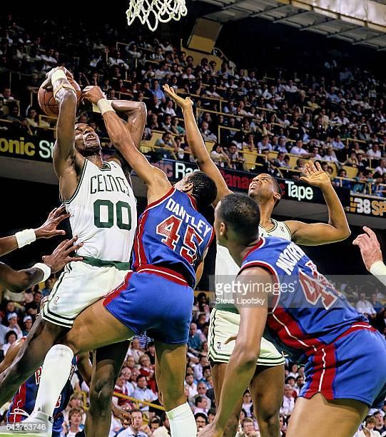 NBA Playoffs Boston Celtics Robert Parish in action vs Detroit Pistons Adrian Dantley at Boston Garden Game 1 Boston MA CREDIT Steve Lipofsky