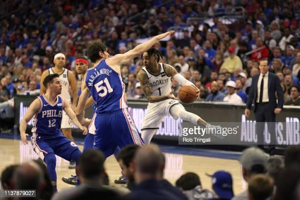 Playoffs: Brooklyn Nets D'Angelo Russell in action vs Philadelphia 76ers Boban Marjanovic at Wells Fargo Center. Game 1. Philadelphia, PA 4/13/2019...