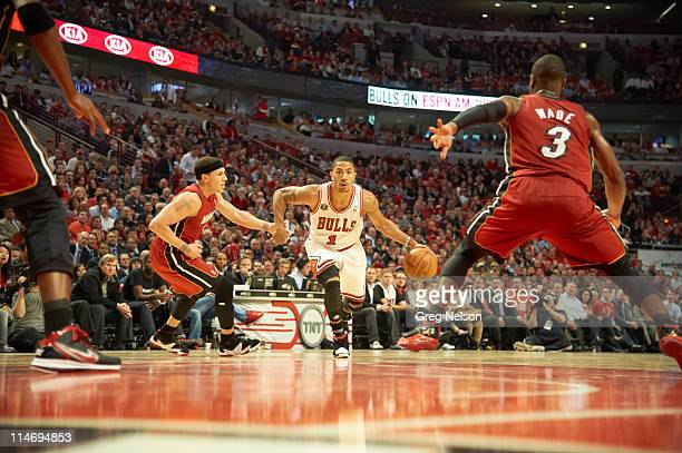 NBA Playoffs Chicago Bulls Derrick Rose in action vs Miami Heat at United Center Game 2 Chicago IL CREDIT Greg Nelson