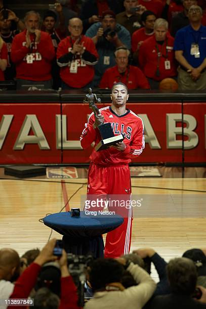 NBA Playoffs Chicago Bulls Derrick Rose with Maurice Podoloff MVP Trophy before game vs Atlanta Hawks at United Center Game 2 Chicago IL CREDIT Greg...